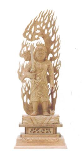 仏像 総白檀 【不動明王】 金泥書(サイズ4種類)の写真