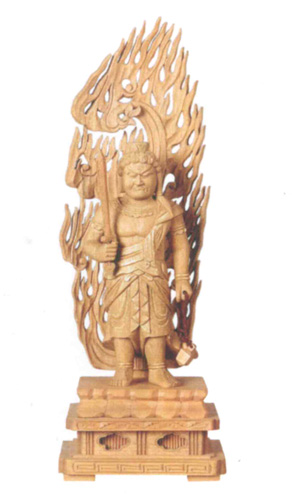 仏像 楠木地彫 【不動明王】 金泥書(サイズ6種類)の写真
