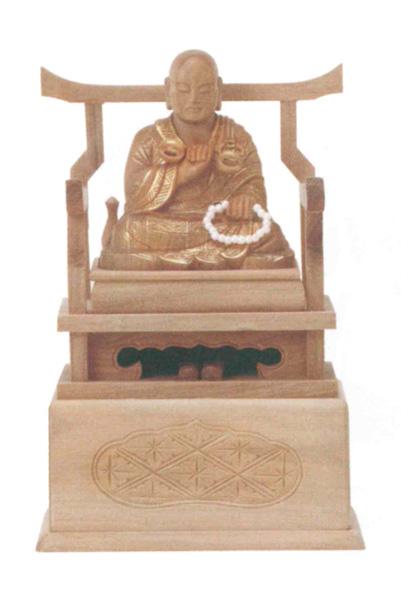 仏像 総白檀 【弘法大師】 金泥書(サイズ3種類)の写真