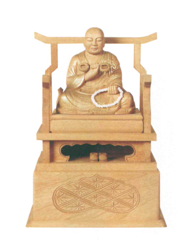 仏像 楠木地彫 【弘法大師】 金泥書(サイズ4種類)の写真