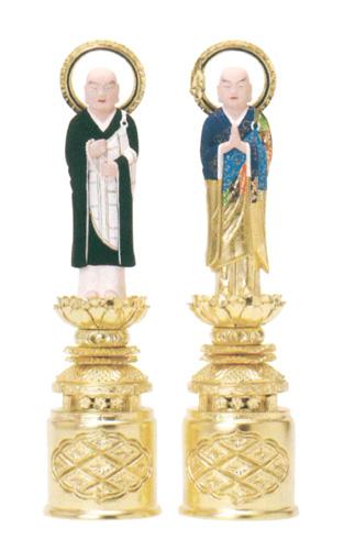 仏像 総木製純金箔 京型彩色 【両大師】 吹蓮華(サイズ5種類)の写真