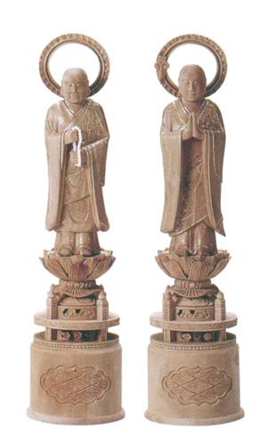 仏像 総白檀 【両大師】 金泥書(サイズ4種類)の写真