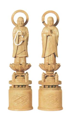 仏像 楠木地彫 【両大師】 金泥書(サイズ6種類)の写真