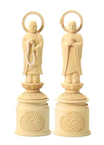 仏像 総白木 【両大師】(サイズ6種類)の写真