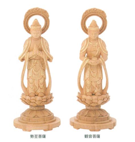 仏像 楠木地彫 【観音・勢至】 金泥書(サイズ3種類)の写真