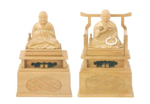 仏像 楠木地彫 【弘法大師・興教大師】 金泥書(サイズ2種類)の写真