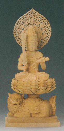 仏像 柘植 【文殊菩薩(守)】(うさぎ年生まれのお守り本尊)の写真