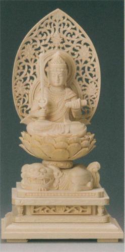 仏像 桧木 【文殊菩薩(守)】(うさぎ年生まれのお守り本尊)の写真