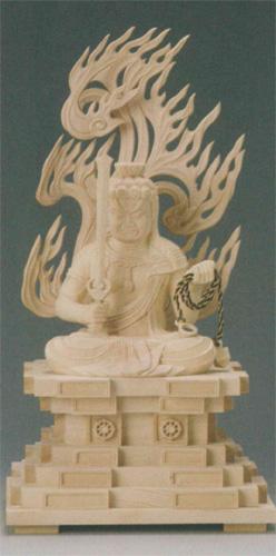 仏像 桧木 【不動明王(守)】(とり年生まれのお守り本尊)の写真