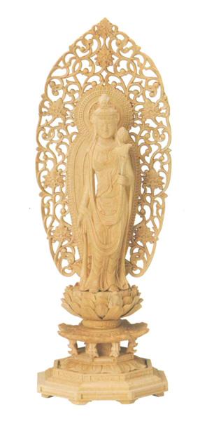 仏像 本柘植 八角台座 【聖観音】 舟型唐草光背(サイズ5種類)の写真