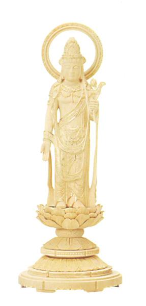 仏像 総柘植 丸台座 【聖観音】 輪光背 金泥書(サイズ5種類)の写真