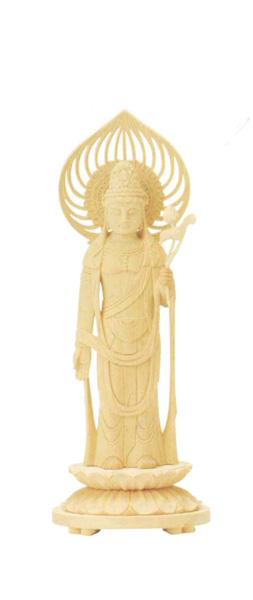 仏像 総白木 丸台座 【聖観音】 宝珠光背(サイズ6種類)の写真