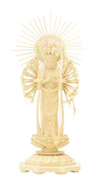 仏像 総柘植 八角台座 【十一面千手観音】 櫛光背(サイズ5種類)の写真
