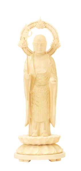 仏像 総柘植 丸台座 【地蔵菩薩】 輪光背 金泥書(サイズ5種類)の写真