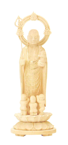 仏像 総柘植 丸台座 【水子地蔵】 輪光背 金泥書(サイズ5種類)の写真