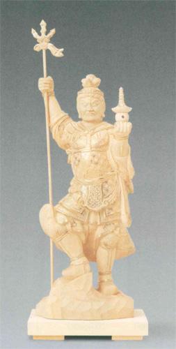 仏像 総柘植 【毘沙門天】 金泥書(サイズ3種類)の写真