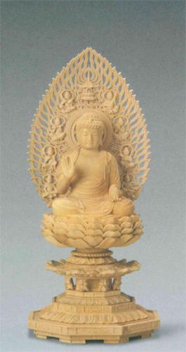仏像 柘植 八角台座 【薬師如来】 飛天光背(サイズ2種類)の写真