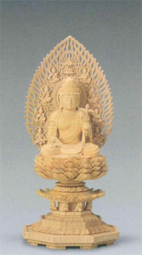 仏像 柘植 八角台座 【観音菩薩】 飛天光背(サイズ2種類)の写真