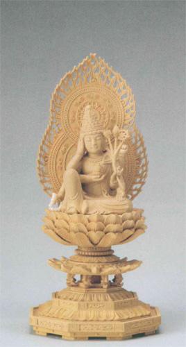 仏像 本柘植 八角台座 【如意輪観音】 2.0寸の写真