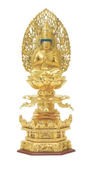 総木製純金箔 京型六角ケマン台座[大日如来 吹蓮華 飛天光背](サイズ3種類)の写真