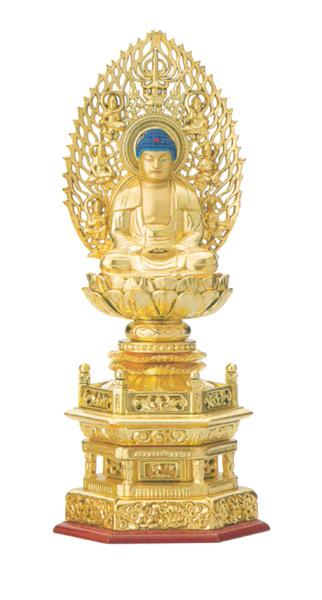 総木製純金箔 六角台座[吹蓮華 飛天光背]【座釈迦または座弥陀】 (サイズ3種類)の写真