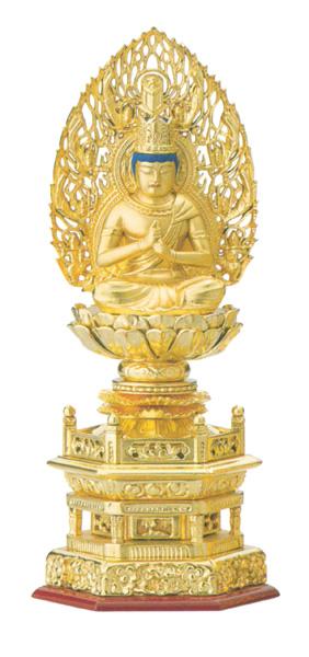 総木製純金箔 六角台座[大日如来 吹蓮華 飛天光背](サイズ3種類)の写真