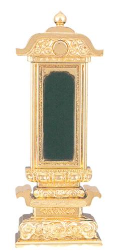 位牌 純前金 柱付筆辺座 純前金(サイズ6種類)の写真